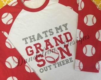 Baseball Grandma Shirt Baseball Granny Shirt Raglan That's My Grandson Out There Baseball Shirt Grandmother Granny Nana Tball Granddaughter
