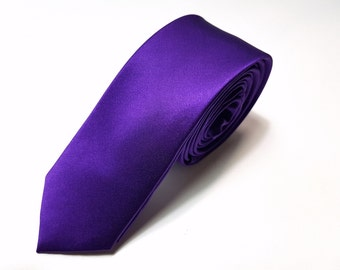 SKINNY Silk Tie in Cadbury Purple
