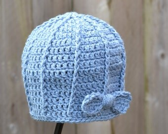 Crocheted Ribbed Beanie with Bow Ready to Ship