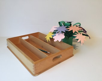 sale vintage wood desk organizer desk caddy wood organizer tray office decor - Desk Organizer Tray