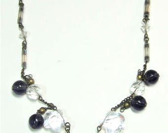 Vintage metal chain and glass beads necklace