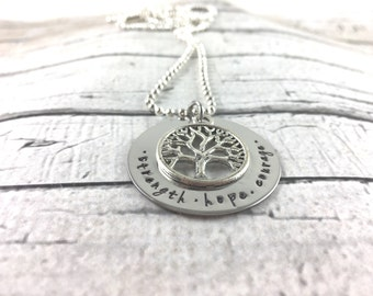 Strength, hope, courage hand stamped necklace