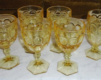 Set of 6 Vintage Moonstone Yellow Fostoria Wine Stem Goblets & Ice Tea Glass