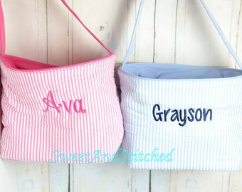 Monogrammed Easter baskets in pink, purple, and blue seersucker, seersucker easter baskets personalized, seersucker tote bags monogrammed
