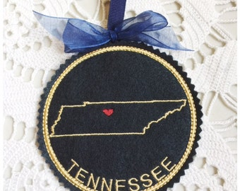 I Heart Tennessee Coaster and Ornament Machine Embroidery Design Instant Download I Love Tennessee with Positionable Heart