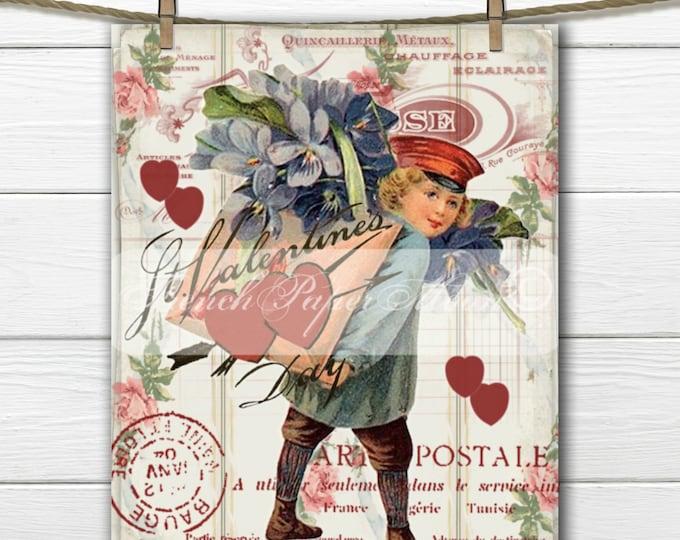 Shabby Digital Valentine, Vintage Boy, Mailman, Violets, French Valentine Pillow, Vintage Valentine Transfer, Pillow Image