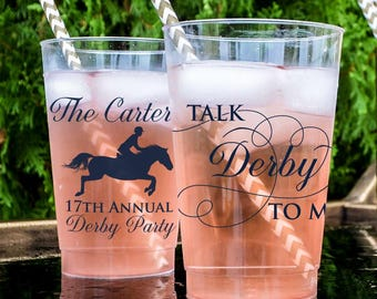 Talk Derby to Me Custom Party Cups, Personalized Hard Plastic Cups, Kentucky Derby Cups, Kentucky Derby Party, Derby Party Favors