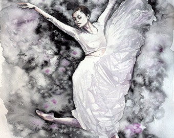 Ballerina watercolor art print. Wall art, wall decor, digital print. Green & Gold