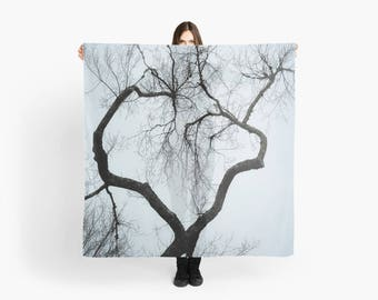 Large Square Scarf- Tree Branches, Heart Photo Scarf, Fashion Art, Nature photo scarf, Gift for her, Blue, Gray, Black