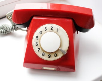 Vintage Soviet rotary telephone / circle dial rotary phone / vintage phone / Old Dial Desk Phone