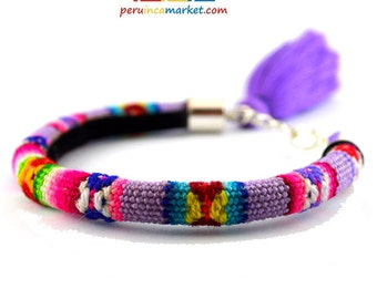 1 Peruvian Fabric bracelet Silver plated Inca textile bracelets made in Peru - with tassel