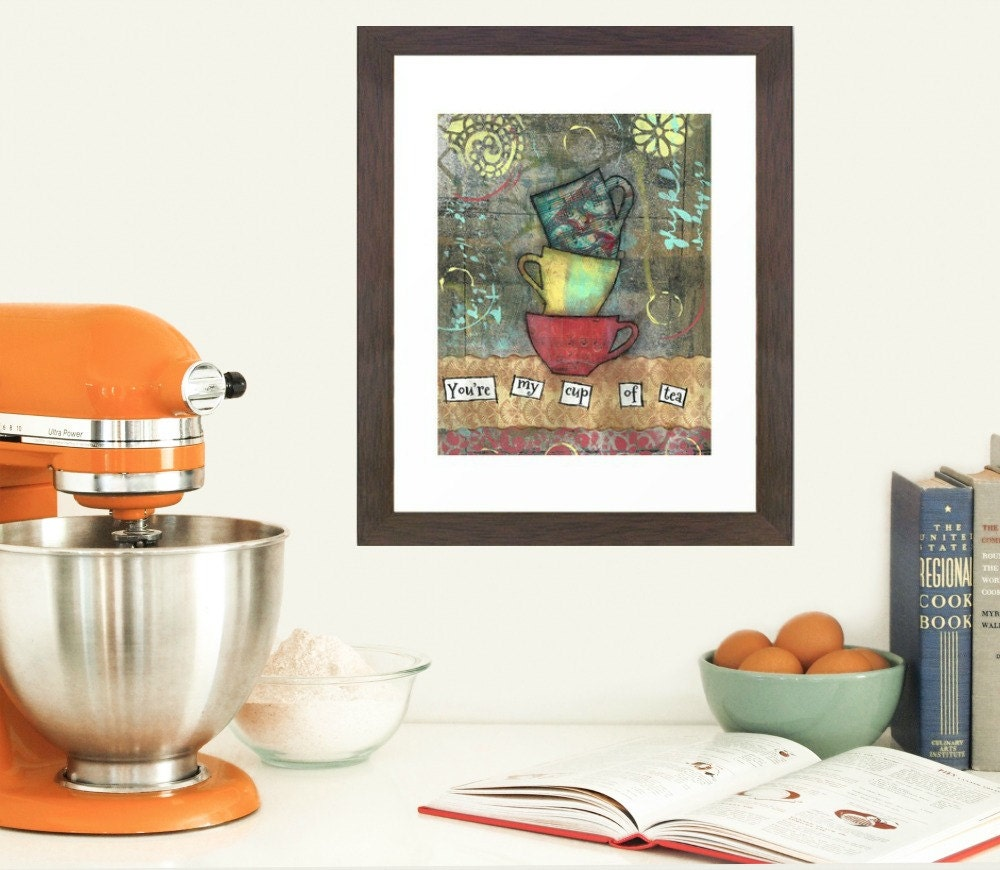 Tea Sign Decor Kitchen Wall Art Tea Lover Art By