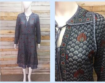 SOLD-  Vintage 1970's  indian guaze boho hippy smock style dress from Aldini. Biba style print  L