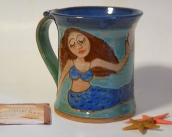 BROWN HAIRED MERMAID Mug with Conk Shell, Pottery Mug with Mermaid, Jewel toned Mug, Coffee Mug,