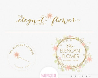 Whimsical Wreath- Premade Photography Logo and Watermark, Classic Elegant Script Font gold glitter dandelion children Calligraphy Logo