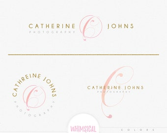 Luxury Initial- Feminine Logo Watercolor Design Branding Package Inc. Photography - GOLD GLITTER initials letters script Watercolor Logo