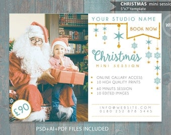 "Christmas Mini Session Template for Photographers - 7""x5"" print - psd template- eps pdf - editable file- gold glitters and blue ad template"