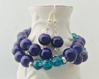 blue bracelet, blue beaded bracelet, stacking bracelet, navy blue bracelet, teal bracelet, long bracelet, blue, blue jewelry