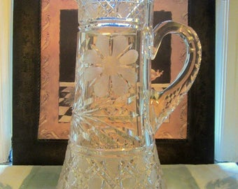 Rare Tall Vintage American Brilliant Cut Crystal Glass Water Wine Pitcher  Vintage Cut Glass  Kitchen & Dining  Pitchers Collectibles
