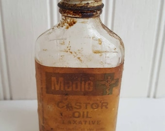 Vintage apothecary medic castor oil bottle old medicine bottle brown glass apothecary jar vintage medicine castor oil old bottle old drugs