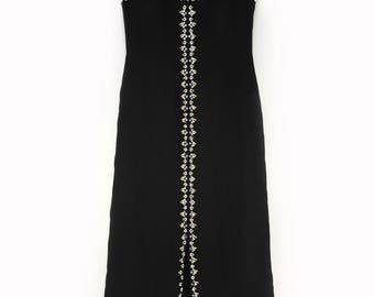 abito nero lungo vintage anni 70