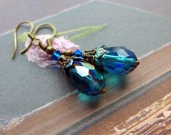Teal Crystal Drop Earrings, Vintage Style Earrings, Dangle Earrings, Victorian Style Earrings, Hand Painted, Teal and Turquoise Earrings
