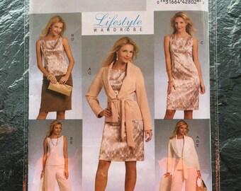 Jacket, Belt, Top, dress, Skirt and Pants Pattern // Butterick B5334, sizes 8-10-12-14, wardrobe set, tied jacket, office, suit