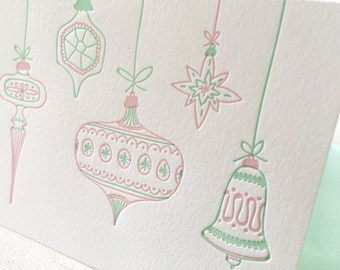 Letterpress Holiday Card - Single Card or Set of 6 - Hand Drawn Vintage Christmas Ornaments - pastels - Ready to Ship