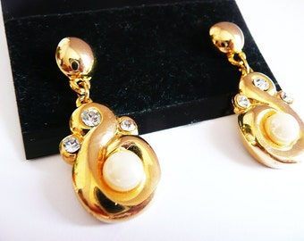 1980s Gold Tone Fashion Earrings with faux pearl and rhinestones, vintage post earrings, 1980s jewelry, gold tone earrings, rhinestones
