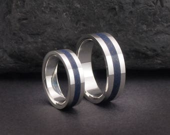 Lapis wedding bands set, sterling silver an lapis rings or wedding bands, lapis rings for men or women, EU US UK sizes
