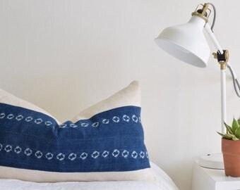 "Authentic African Indigo/Blue and Cream Mud Cloth Pillow Cover with Cream Decor - 16""x26"" - Lumbar"