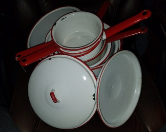 Vintage White & Red Enamelware Bowls/Pans