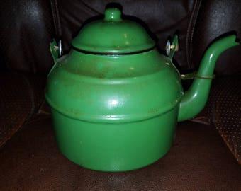 Olive Green Enamelware Tea Pot