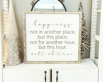 Happiness | Walt Whitman Quote | Modern Farmhouse Sign | Living Room Décor | Housewarming Gift