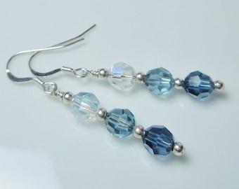 Swarovski Crystal Ombre Blues Beaded Earrings