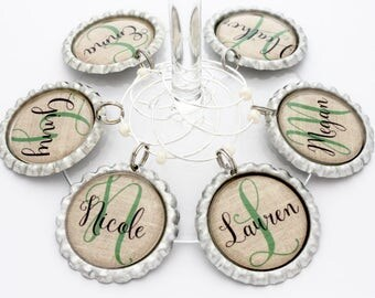 Personalized bridal shower favors wine charms custom name initial rustic burlap birthday party favor.