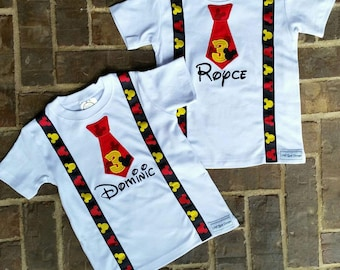 Boys Mickey Shirt with Name and Birthday Number