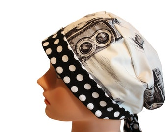Scrub Hat Surgical Scrub Cap Chemo Hat Tie Back  Flirty Front Fold Pixie Style Black Camera Cream 2nd Item Ships FREE