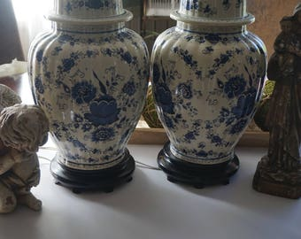 Vintage, Set of Two Blue and White Ginger Jar Lamp with Brass Pedestal