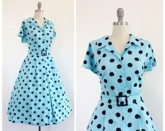 70s Blue & Black Polkadot Dress / 1970s does 50s Vintage Cotton Shirtwaist Dress / Large / Size 14
