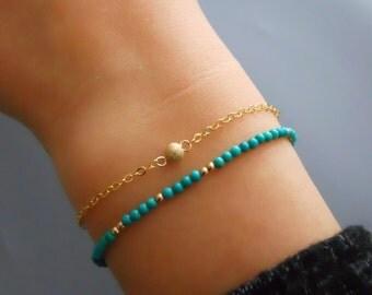 Set of 2 Bracelets, Turquoise Beads Bracelet, Stardust Bead Bracelet, Gold Filled And Turquoise, Dainty Layered Bracelet, Bracelet Set, #529