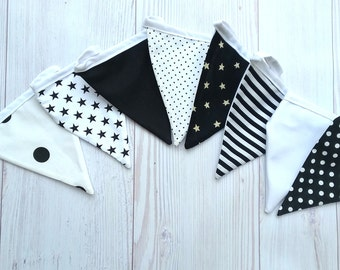 Black and White Baby Garland, Fabric Bunting, Flag Banner, Nursery Wall Décor, Garland Flags, Baby Bunting, Fabric Flag Banner