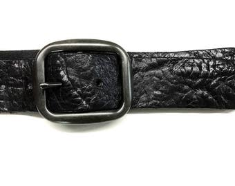 Black leather jeans belt vintage leather belt made of soft fullgrain leather with antique silver buckle