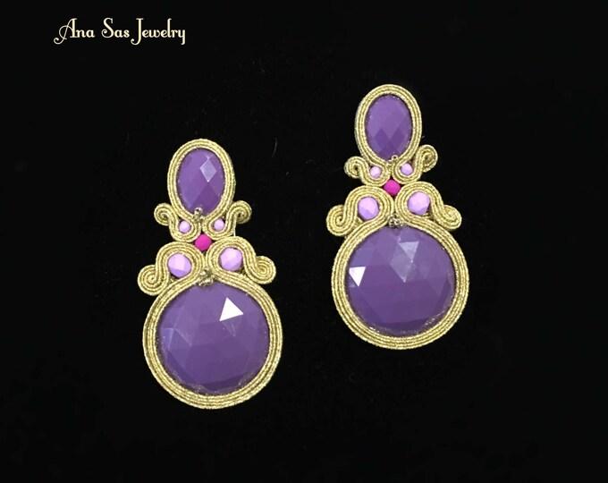 Purple and gold soutache earrings