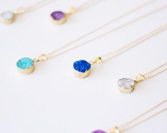 Evangeline - Long Druzy Necklace - White, Blue, Aqua Green, Purple