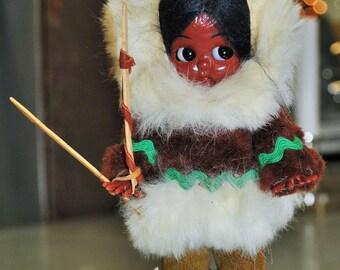 Vintage 1960's  Eskimo Doll with Tools