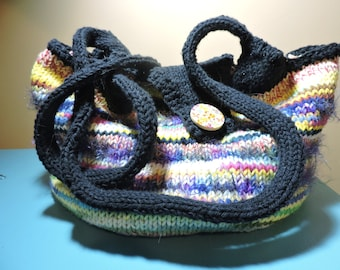 Hand knitted cotton yarn HOBO bag, gym bag, market bag, beach bag, MULTICOLORED