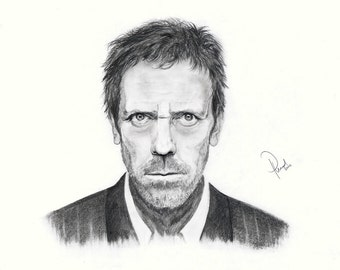 Gregory House M.D. (Hugh Laurie). Pencil drawing Print