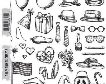 Tim Holtz CRAZY THINGS Cling Stamp set STAMPERs ANONYMOUS CMS271 cc11