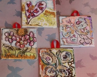 4 mini paintings - inspire and fly